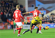 Emilio Nsue, Bobby Reid during the Sky Bet Championship match between Bristol City and Middlesbrough at Ashton Gate, Bristol, England on 16 January 2016. Photo by Daniel Youngs.