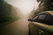 A car drives a road in Ba Vi National Park during a foggy day, Vietnam, Southeast Asia
