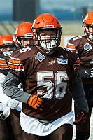 KELOWNA, CANADA - SEPTEMBER 16: Defensive Lineman Timothy Curren #56 of the Okanagan Sun runs to the field against the Vancouver Island Raiders on September 16, 2018, at the Apple Bowl, in Kelowna, British Columbia, Canada.  (Photo by Marissa Baecker/Shoot the Breeze)  *** Local Caption ***