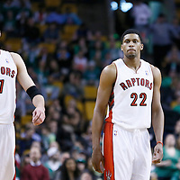 13 March 2013: Toronto Raptors center Jonas Valanciunas (17) and Toronto Raptors small forward Rudy Gay (22) are seen during the Boston Celtics 112-88 victory over the Toronto Raptors at the TD Garden, Boston, Massachusetts, USA.
