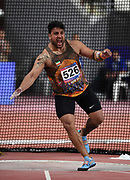 Ehsan Hadadi (IRN) celebrates after winning the discus with a throw of 216-4 (65.95m) during the Asian Athletics Championships in Doha, Qatar, Saturday, April,21, 2019. (Jiro Mochizuki/Image of Sport)
