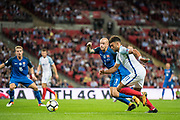 CAPTION CORRECTION: (11) Alex Oxlade-Chamberlain, Slovakia (7) Vladimir WEISS during the FIFA World Cup Qualifier match between England and Slovakia at Wembley Stadium, London, England on 4 September 2017. Photo by Sebastian Frej.