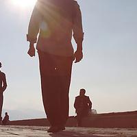 People walking along Kordon walkway in Izmir, Turkey