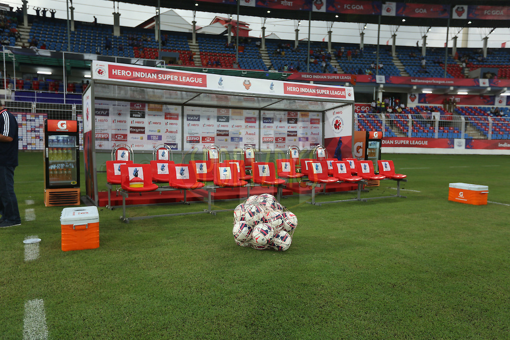 Dugout beofr the tstart of the match 2 of the Indian Super League (ISL) season 2  between FC Goa and Delhi Dynamos FC held at the Jawaharlal Nehru Stadium, Goa, India on the 4th October 2015.<br /> <br /> Photo by Sandeep Shetty/ ISL/ SPORTZPICS