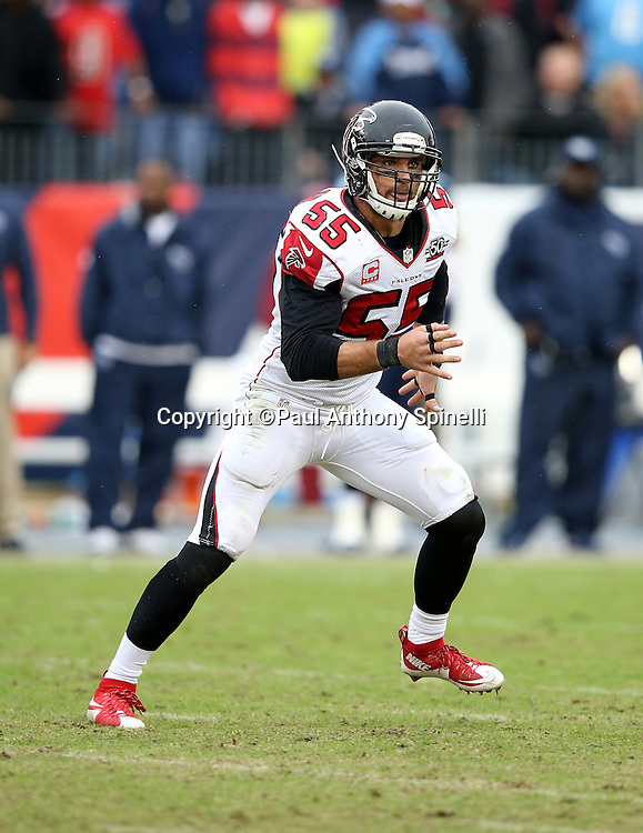 Atlanta Falcons linebacker Paul Worrilow (55) chases the action during the 2015 week 7 regular season NFL football game against the Tennessee Titans on Sunday, Oct. 25, 2015 in Nashville, Tenn. The Falcons won the game 10-7. (©Paul Anthony Spinelli)