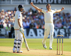 File photo dated 06-08-2015 of Australia's Mitchell Starc celebrates the wicket of England's Alastair Cook during day one of the Fourth Investec Ashes Test at Trent Bridge, Nottingham.