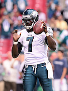 Sept. 23, 2012; Glendale, AZ, USA; Philadelphia Eagles quarterback Michael Vick (7) reacts on the field at University of Phoenix Stadium. The Cardinals defeated the Eagles 27 - 6. Mandatory Credit: Jennifer Stewart-US PRESSWIRE.