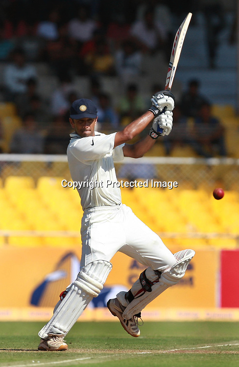 Indian Batsman Rahul Dravid Hit The Shot Against New Zealand During New Zealand vs India 1st Test Test Day-1  Played at Sardar Patel Stadium, Motera, Ahmedabad 4, November 2010 (5-day match)