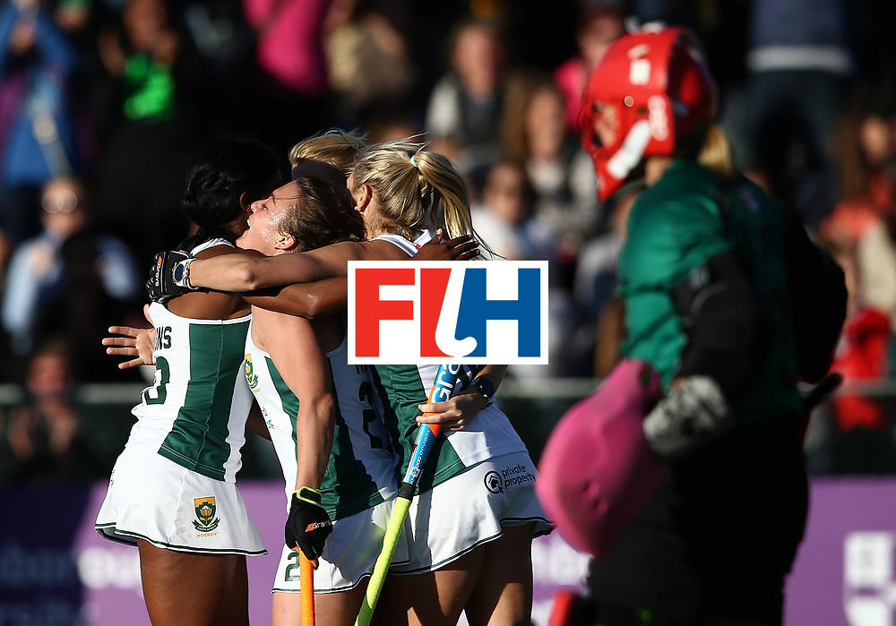 JOHANNESBURG, SOUTH AFRICA - JULY 16:  Jade Mayne of South Africa celebrates the opening goal with team mates during day 5 of the FIH Hockey World League Women's Semi Finals Pool B match between South Africa and United States of America at Wits University on July 16, 2017 in Johannesburg, South Africa.  (Photo by Jan Kruger/Getty Images for FIH)