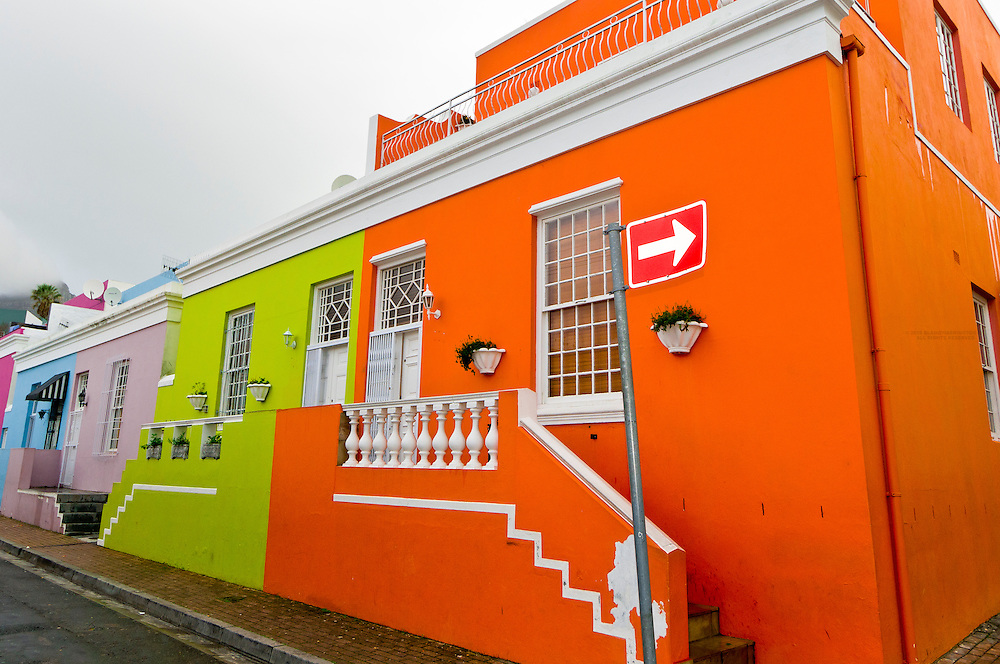 Colorful houses on Chiappini Street in Bo Kaap section (Muslim Quarter), Cape Town, South Africa
