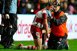 Gloucester Fly-Half (#10) Billy Burns has his injured shoulder attended to by the physio during the second half of the match - Photo mandatory by-line: Rogan Thomson/JMP - Tel: Mobile: 07966 386802 09/11/2012 - SPORT - RUGBY - Liberty Stadium - Swansea. Ospreys v Gloucester - LV= Cup