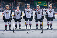KELOWNA, BC - DECEMBER 18:  Vancouver Giants' starting line up against the Kelowna Rockets at Prospera Place on December 18, 2019 in Kelowna, Canada. (Photo by Marissa Baecker/Shoot the Breeze)
