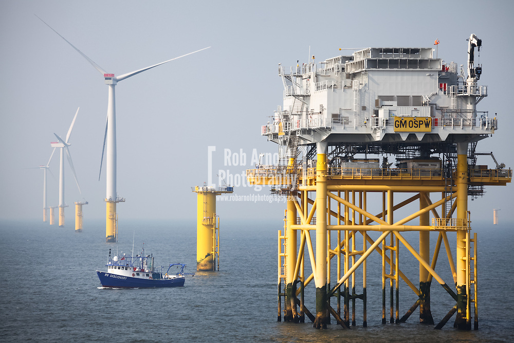 Fugro EMU Survey vessel, RV Discovery, working on the Gwynt y Môr Offshore Wind Farm, off the coast of North Wales.