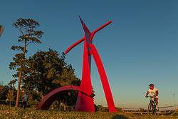 "A Painted Steal statue titled ""Houston"" by Mac Whitney 1981. The statue is 50'T by 37'W by 24'D"