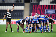 Hull FC outside back Carlos Tuimavave (3) signals at a St Helens scrum during the Betfred Super League match between Hull FC and St Helens RFC at Kingston Communications Stadium, Hull, United Kingdom on 16 February 2020.