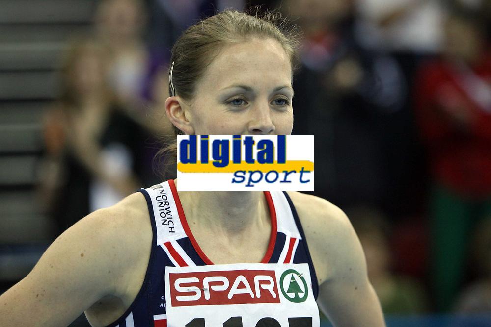 Photo: Rich Eaton.<br /> <br /> EAA European Athletics Indoor Championships, Birmingham 2007. 03/03/2007. Nicola Sanders wins gold in the womens 400m final
