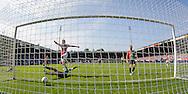 NIJMEGEN, NEC - Ajax, voetbal, Eredivsie seizoen 2015-2016, 23-08-2015, Stadion De Goffert, NEC speler Rens van Eijden (3L) scoort in zijn eigen doel onder druk an Ajax speler Arek Milik (4L), eigen doelpunt, 0-2 voor Ajax.
