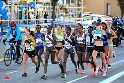 elite women lead, Des Linden, Nancy Kiprop, Mary Keitany, Kellyn Taylor<br /> TCS New York City Marathon 2019