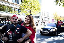 19.10.2014, Muenchen, GER, Aufmarsch von tuerkischen Nationalisten gegen die PKK, Der Rockerclub 'Turkos MC' rief zu einer Demonstration gegen die PKK auf. Laut Polizeiangaben hatte der Aufmarsch 200 Teilnehmer, weitere 50 Rocker fuhren auf Motorraedern vorneweg. Ein Grossteil der Teilnehmer trug Symboliken der nationalistischen 'Grauen Woelfe' und der MHP, viele zeigten immer wieder den sog. 'Wolfsgruss', im Bild Member des MC Turk auf Motorraedern // during a parade by Turkish nationalists against the PKK. Rockers of 'Turcos MC' called for a demonstration against the PKK. According to police, the march had 200 participants, another 50 Rocker went on motorcycles in front. A majority of the participants wore symbolism of the nationalist 'Grey Wolves' and the MHP, many showed again the so-called 'Wolf greeting', Munich, Germany on 2014/10/19. EXPA Pictures © 2014, PhotoCredit: EXPA/ Eibner-Pressefoto/ Gehrling<br /> <br /> *****ATTENTION - OUT of GER*****