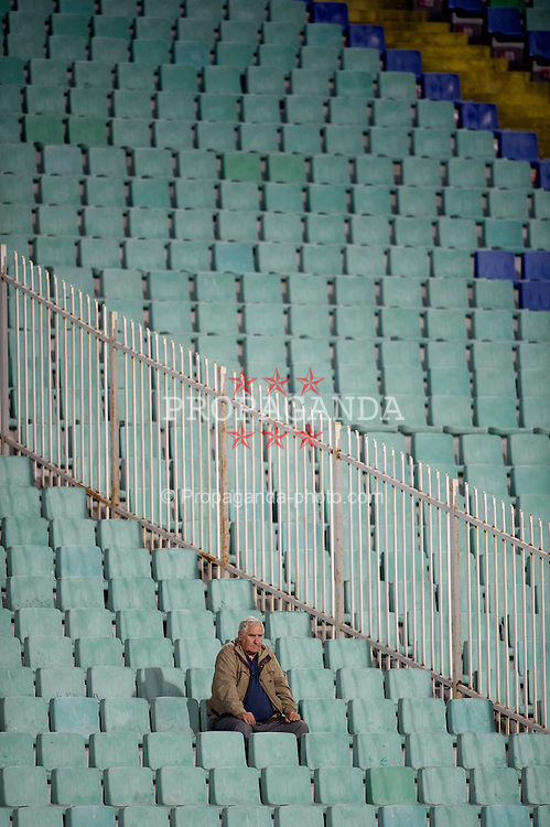 SOFIA, BULGARIA - Tuesday, October 11, 2011: A lone of Bulgaria supporters during the UEFA Euro 2012 Qualifying Group G match against Wales at the Vasil Levski National Stadium. Bulgarian fans boycotted the match in protest at how the Football Association was being run. (Pic by David Rawcliffe/Propaganda)