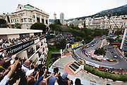 May 23-27, 2018: Monaco Grand Prix.  Start of the 76th Monaco Grand Prix from the Fairmont hairpin. Carlos Sainz Jr. (SPA) Renault Sport Formula One Team, R.S. 18, Sergio Perez (MEX), Sahara Force India, VJM11, Fernando Alonso (SPA), McLaren Renault, MCL33