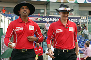 Umpires Billy Bowden and Kumar Dharmasena walking out onto the field during match 19 of the Karbonn Smart Champions League T20 between the Perth Scorchers and the Mumbai Indians held at the Feroz Shah Kotla Stadium, Delhi on the 2nd October 2013. Photo by Jacques Rossouw-CLT20-SPORTZPICS <br /> <br /> Use of this image is subject to the terms and conditions as outlined by the CLT20. These terms can be found by following this link:<br /> <br /> http://sportzpics.photoshelter.com/image/I0000NmDchxxGVv4