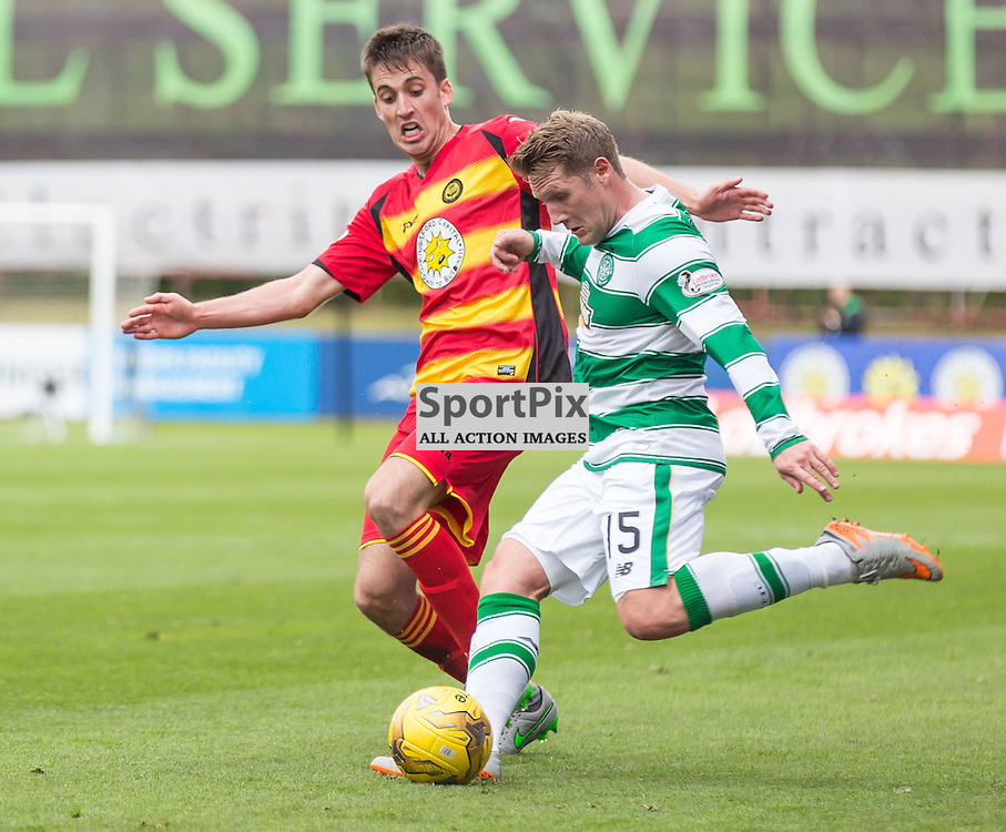 Callum Booth challenges Kris Commons during the Scottish Premiership match between Partick Thistle and Celtic (c) ROSS EAGLESHAM | Sportpix.co.uk