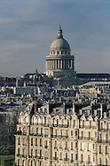 France Elevated view of Paris left bank, The pantheon and city island  / paris vue aerienne de la rive gauche