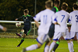 BANGOR, WALES - Tuesday, November 15, 2016: Wales' Ben Woodburn scores the first equalising goal against Luxembourg during the UEFA European Under-19 Championship Qualifying Round Group 6 match at the Nantporth Stadium. (Pic by David Rawcliffe/Propaganda)