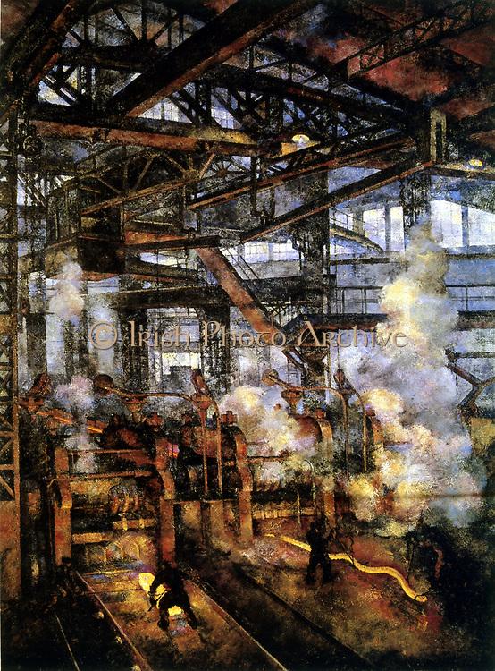 Steelworks.  Scene in rolling mill.Artist V Rozhedstvensky, 1930.