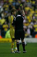 Photo: Steve Bond.<br />Derby County v Southampton. Coca Cola Championship. Play Off Semi Final, 2nd Leg. 15/05/2007. Inigo Idiakez is booked by referee Andy D'Urso