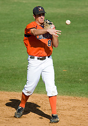 Virginia Cavaliers INF Patrick Wingfield (8)..The Virginia Cavaliers baseball team held a seven game Orange and Blue World Series at Davenport Field in Charlottesville, VA.  Images are from Game 6 held on October 22, 2007.