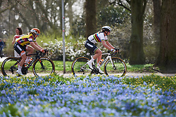 Chantal Blaak (NED) leads the bunch through the park at Healthy Ageing Tour 2018 - Stage 5, a 94.3 km road race in Groningen on April 8, 2018. Photo by Sean Robinson/Velofocus.com