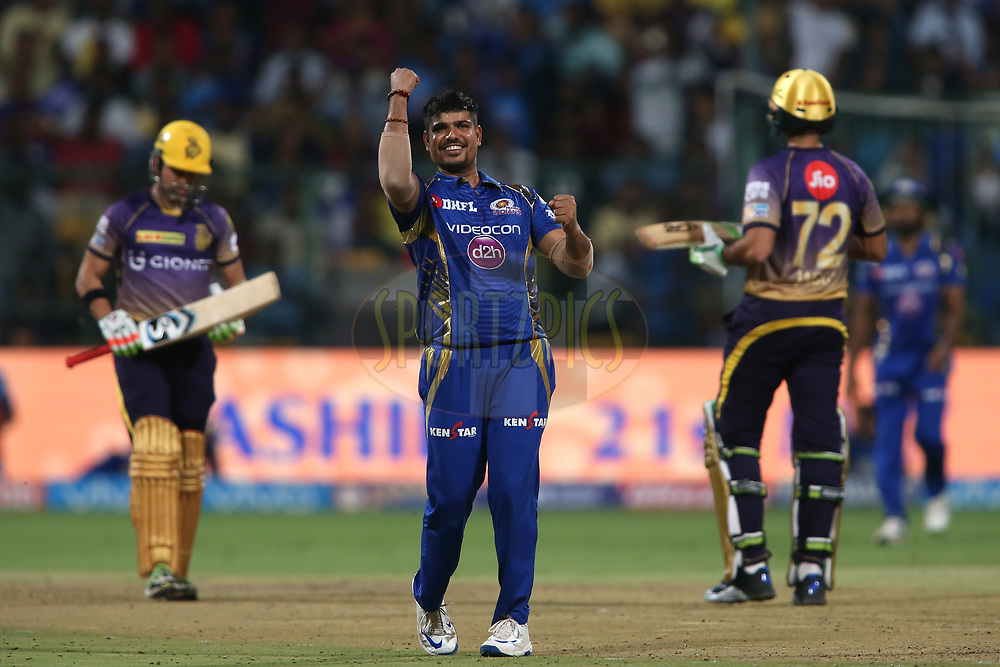 Karn Sharma of the Mumbai Indians celebrates getting Kolkata Knight Riders captain Gautam Gambhir wicket during the 2nd qualifier match of the Vivo 2017 Indian Premier League between the Mumbai Indians and the Kolkata Knight Riders held at the M.Chinnaswamy Stadium in Bangalore, India on the 19th May 2017<br /> <br /> Photo by Shaun Roy - Sportzpics - IPL
