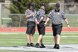 11 April 2015:  Lacrosse referees during an NCAA Division III mens lacrosse match between the Elmhurst Bluejays and the Illinois Wesleyan Titans in Bloomington IL
