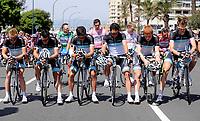 Il team Leopard in partenza<br /> Team Leopard pause before the start in memory of the death of their colleague Wouter Weylandt<br /> Giro d'Italia 2011 - Tappa 4: Genova Livorno<br /> Genova, 10/05/2011<br /> © Giorgio Perottino / Insidefoto <br /> Ciclismo Cycling