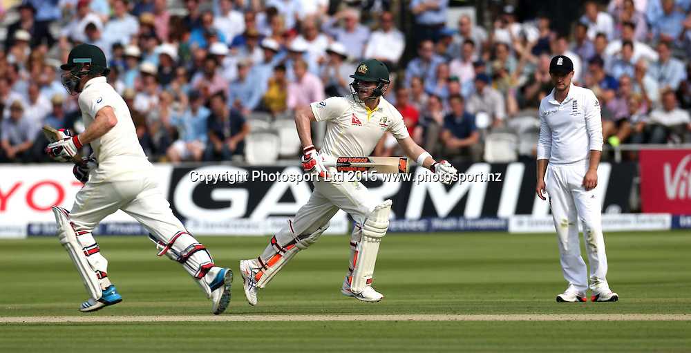 Steve Smith and Chris Rogers (left) pile on the runs during the second Investec Ashes Test Match between England and Australia at Lord's Cricket Ground, London. Photo: Graham Morris/www.cricketpix.com (Tel: +44 (0)20 8969 4192; Email: graham@cricketpix.com) 16072015