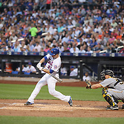 NEW YORK, NEW YORK - June 16: Neil Walker #20 of the New York Mets hits a home run in the third inning during the Pittsburgh Pirates Vs New York Mets regular season MLB game at Citi Field on June 16, 2016 in New York City. (Photo by Tim Clayton/Corbis via Getty Images)