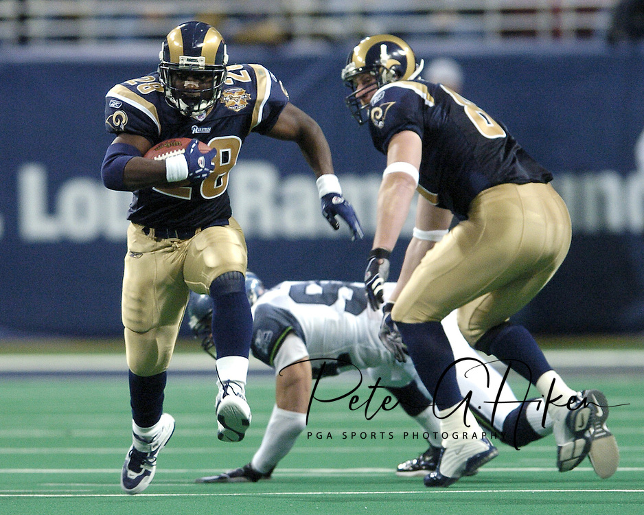 St. Louis Rams' runningback Marshall Faulk (28) during action against Seattle at the Edward Jones Dome in St. Louis, Missouri.