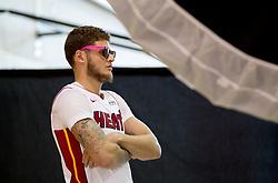 September 25, 2017 - Miami, Florida, U.S. - Miami Heat guard Tyler Johnson (8) at Media Day at AmericanAirlines Arena in Miami, Florida on September 25, 2017. (Credit Image: © Allen Eyestone/The Palm Beach Post via ZUMA Wire)