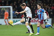 Dean Hammond of Sheffield United blocks ball  during the Sky Bet League 1 match between Scunthorpe United and Sheffield Utd at Glanford Park, Scunthorpe, England on 19 December 2015. Photo by Ian Lyall.