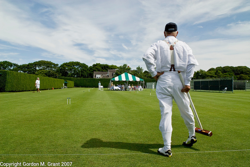 Southampton, NY - 7/21/07 - Patrick Foy competes in a croquet tournament at the Meadow Club in Southampton, NY July 21, 2007.       (Photo by Gordon M. Grant)