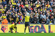 Watford's Troy Deeney after his goal celebration, 1-1, during the The FA Cup match between Crystal Palace and Watford at Wembley Stadium, London, England on 24 April 2016. Photo by Shane Healey.