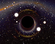 Computer image if a black hole light from every direction is bent around and comes back to you. The original background map was taken from the 2MASS infrared sky survey, with stars from the Henry Draper catalogue superposed. Black holes are thought to be the densest state of matter, and there is indirect evidence for their presence in stellar binary systems and the centres of globular clusters, galaxies, and quasars.
