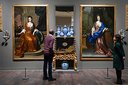 "© Licensed to London News Pictures. 03/02/2020. LONDON, UK. A depiction of the ""Beauty Room"" at Petworth House, including (C) two portraits of Rachell Russell, Duchess of Somerset, and Mary Somerset, Duchess of Ormonde, c1690s by Michael Dahl.  Preview of ""British Baroque : Power and Illusion"", the first ever exhibition to focus on baroque culture in Britain.  Works from the Restoration of Charles II in 1660 to the death of Queen Anne in 1714 are on display at Tate Modern 4 February to 19 April 2020, many on show to the public for the first time.  Photo credit: Stephen Chung/LNP"