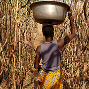 Boukoumbe December 2006 - Woman Fetchs water from the local well in Boukoumbe, Benin. © Jean-Michel Clajot