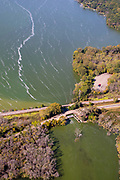 Aerial photograph of Langmuir currents on Lake Kegonsa, Wisconsin, USA.