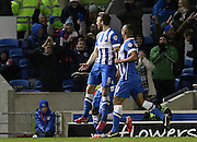 Brighton's Dale Stephens celebrates his goal during the Sky Bet Championship match between Brighton and Hove Albion and Derby County at the American Express Community Stadium, Brighton and Hove, England on 3 March 2015. Photo by Phil Duncan.