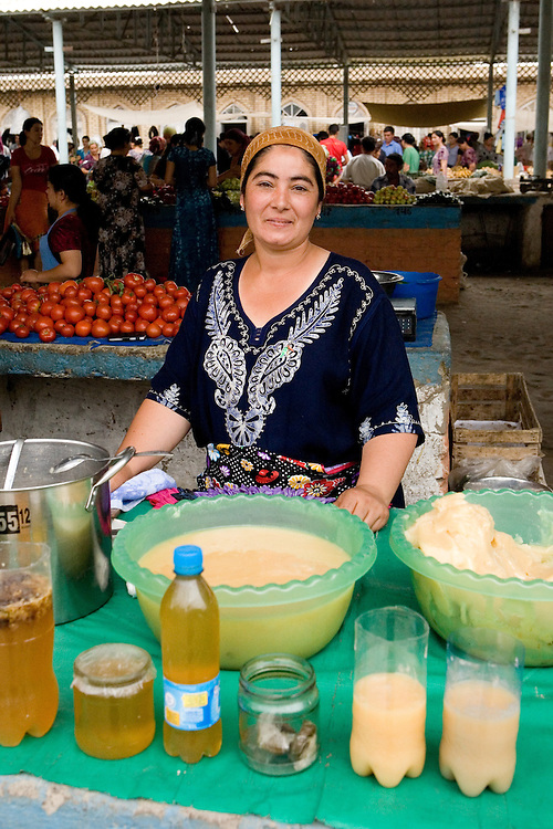 Woman selling honey in Khiva market