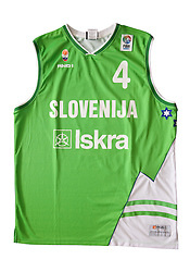 Jersey number 4 of Slovenian basketball national team when played at European Championships Beograd 2005; on March 28, 2009, in Ljubljana, Slovenia (Photo by Vid Ponikvar / Sportida)